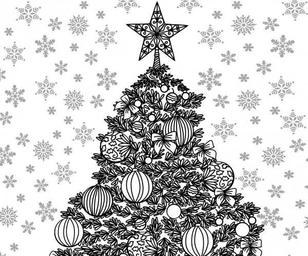 Christmas Themed Adult Coloring Sheet — craftbits.com
