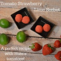 Tomato Strawberry Lime Sorbet a perfect recipe with tomatoes #DinnerDone #shop