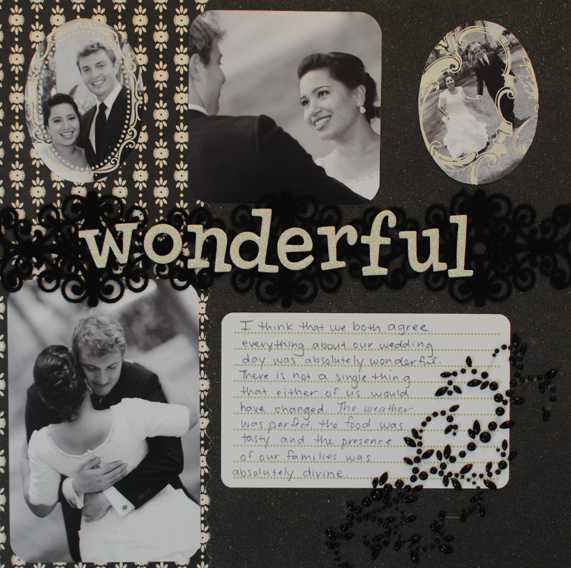 black and white wonderful wedding scrapbook layout wedding scrapbook Black and White Wonderful Wedding Scrapbook Layout Crafting Couture
