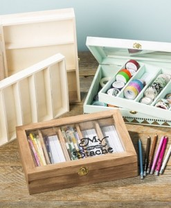 Unfinished Wood Storage Box for pens or washi tape