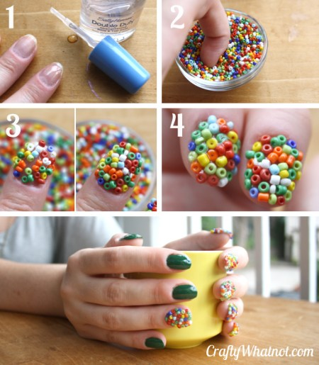beaded manicure tutorial Craft Whatnot