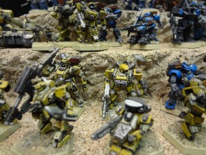 Various 15mm Heavy Gear Mechs on display from Dream Pod 9 at the GAMA Trade Show.