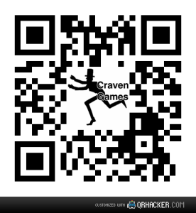 A QR code for a smart phone with the Craven Games logo inside it.