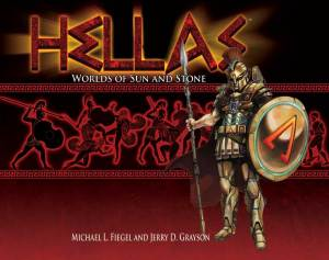 Cover for Hellas the role playing game showing futuristic Greek spacefarer