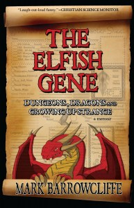 Book cover for Elfish Gene depicting red cartoon dragon and character sheet for Dungeons and Dragons