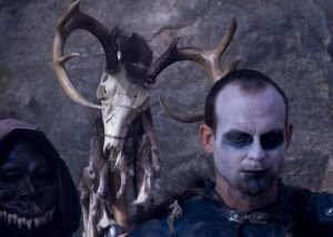 Actor Trevor Hayes with skull makeup as a shaman in the Wild Hunt