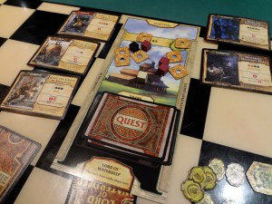 Completed quests and active quests for Harpers for Lord of Waterdeep Board Game