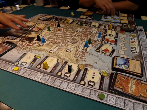 A Lords of Waterdeep game in progress with most of the pieces on the board
