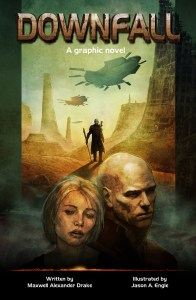Bald wasteland wanderer and woman on cover of Maxwell Alexander Drake's Downfall
