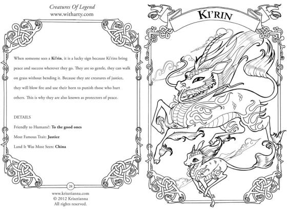 Mythical ki'rin monster from Krisztianna's Creatures of Legend coloring book