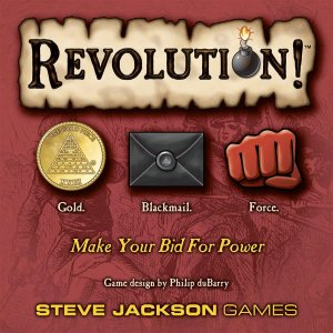Cover art for board game from Steve Jackson Games Revolution showing gold coin, blackmail envelope, and red fist for Force