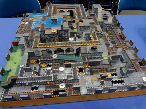 Three dimensional 3D Robo Rally board made using Hirst Arts dental plaster blocks and tiles at Gen Con