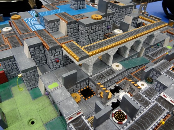 Medium distance view of Robo Rally 3D Hirst Arts block board at Gen Con 2012