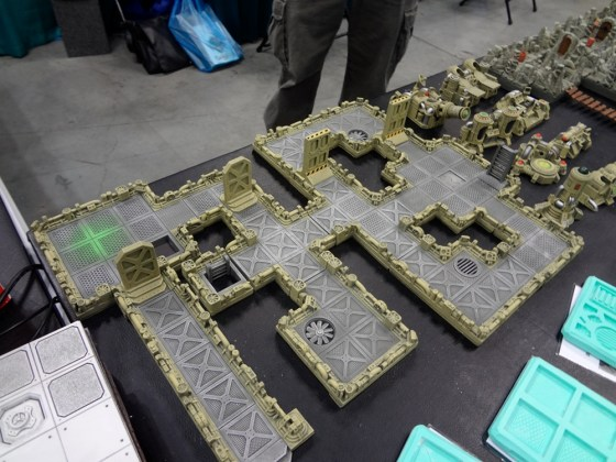 Science fiction corridor set for 25-28mm miniatures at the Hirst Arts booth at Gen Con
