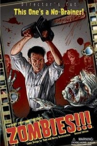 Human wielding chainsaw besieged by undead zombies on cover of Zombies!!! box art