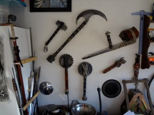 Vicious bladed implements and weapons on a garage wall at Duel at Dusk Productions