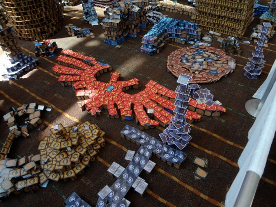 Games Workshop Aquila Symbol Made of Red Austin Powers cards at Gen Con 2012 Cardhalla