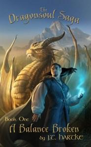 Golden dragon and wizard on cover of J.T. Hartke's fantasy novel A Balance Broken