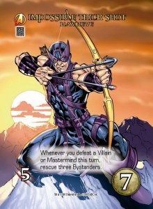 Marvel Bowman Hawkeye nocking an arrow on card art for Marvel Legendary