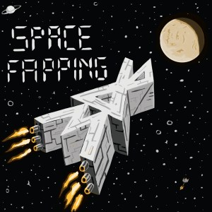 Album cover for Space Fapping with letters 3D6 heading towards moon