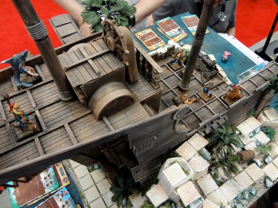 Top down view of miniature model pirate ship for skirmish wargame Rum and Bones at Gen Con 2012