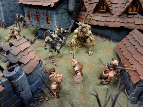 Pig warriors Union Workers miniatures from Wrath of Kings battle Skorza lupines and monster Ucuzo
