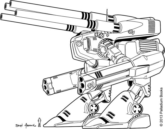 Two legged mecha M.A.C. Monster from Macross Sourcebook as line art with huge shoulder-mounted guns and guns on hands