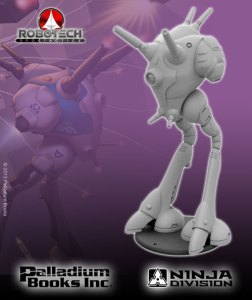 Two-legged resin sculpt of Zentraedi Regult Battle Pod for Robotech RPG Tactics