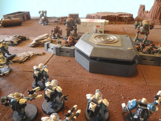 Prepainted AT-43 Bunker with Karman Apes Attacking and Red Blok Defenders