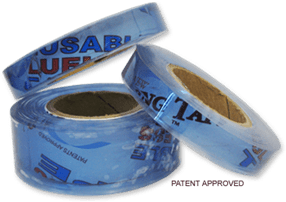 Clear rolls of Hugo's Amazing Tape with words Patent Approved