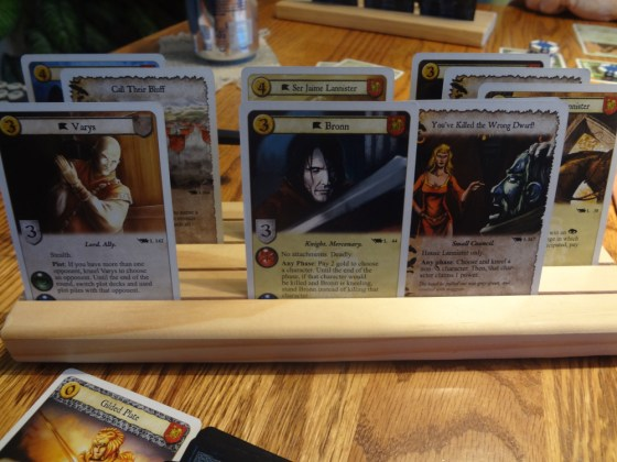 Game of Thrones LCG Lannister cards in wooden Card-Boards holder