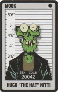Zombie Mobster Hugo The Hat Nitti playing card missing brain