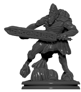 Grey plastic sword-wielding miniature of Atturnuk the Brutal for Chaosmos board game