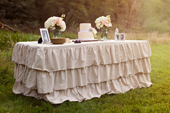 Tiered Ruffle Tablecloth: Candy Crush Events, Jute + Lace: Flea Market Chick