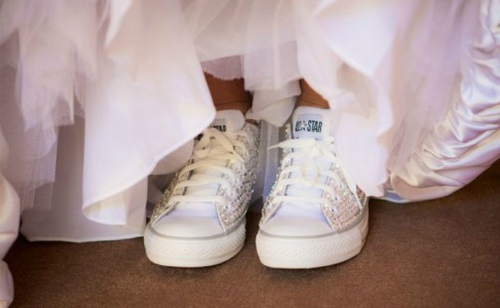 if so you might want to do away with high heeled shoes and go with a bridal sneaker