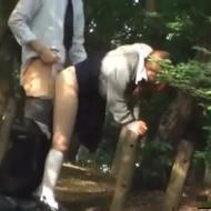 【青姦盗撮動画】公園の林で青姦セックスしてるJKカップルがいたから盗撮して晒したったww