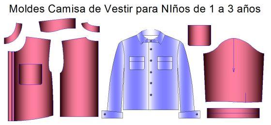Tallaje de camisa infantil para niños de hasta 3 años de edas
