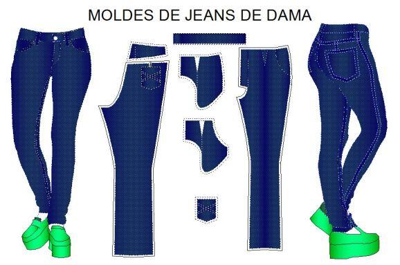 Moldes por talla para costura de pantalon estilo vaquero.