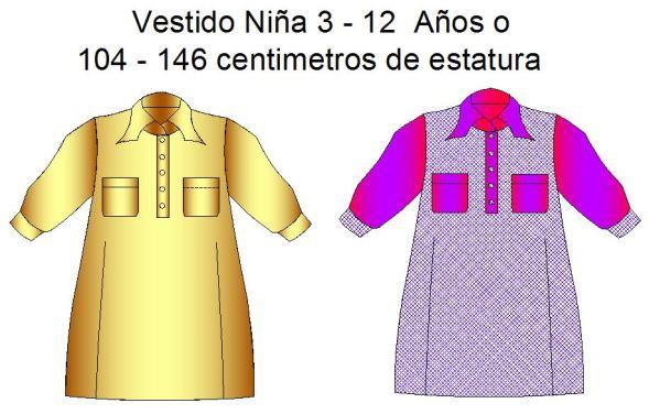 Tallaje de vestidos de niñas de 3 a12 años