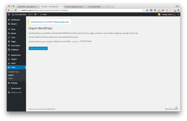 File selection screen for the WordPress site import process.