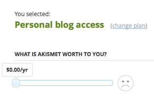 Screen shot of Akismet donation slider with frowning face