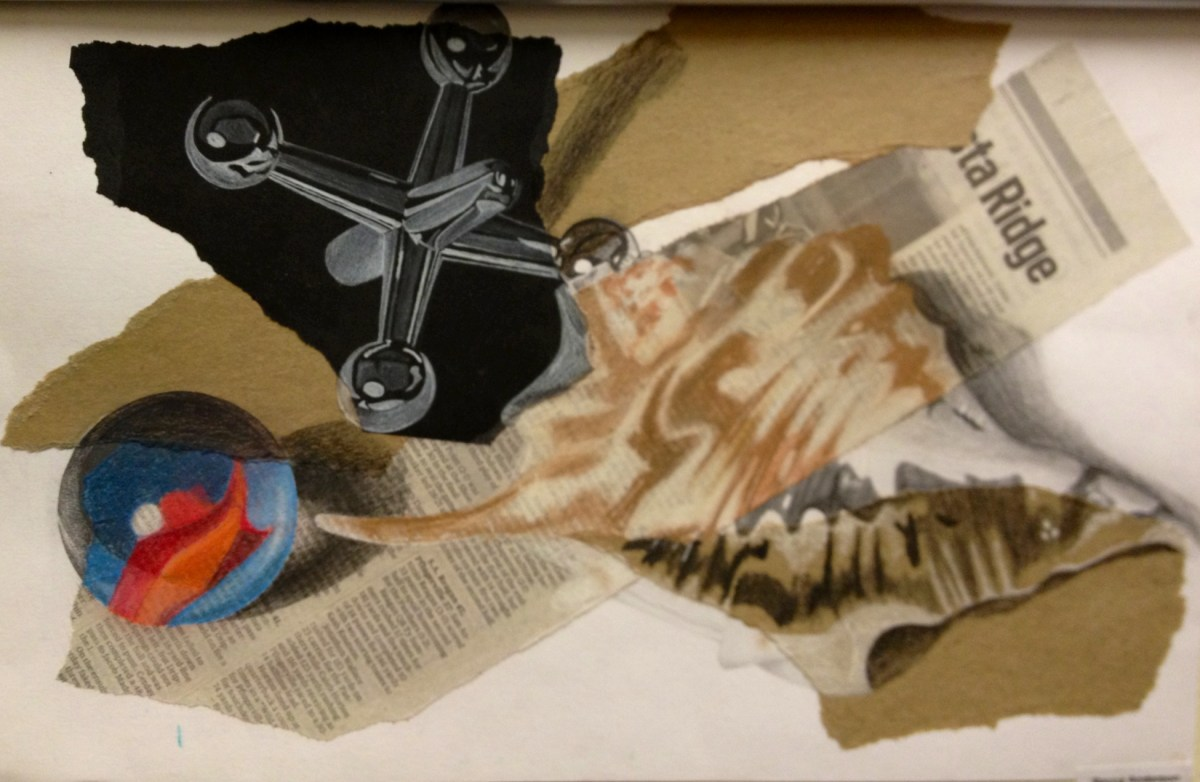 Mixed Media Still Life Drawing & Collage