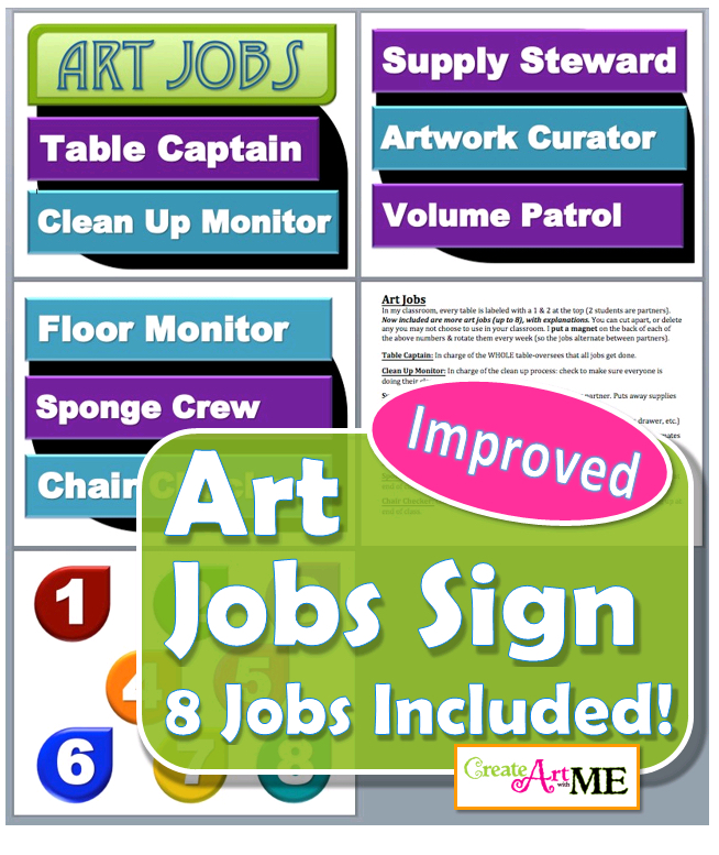 Art Jobs Printable Sign - Improved with 8 Total Art Room Jobs!