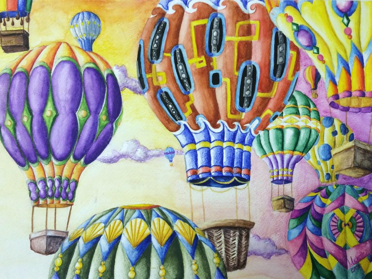 Hot Air Balloon Rhythm, Pattern & Variety Watercolor Pencil Painting Lesson