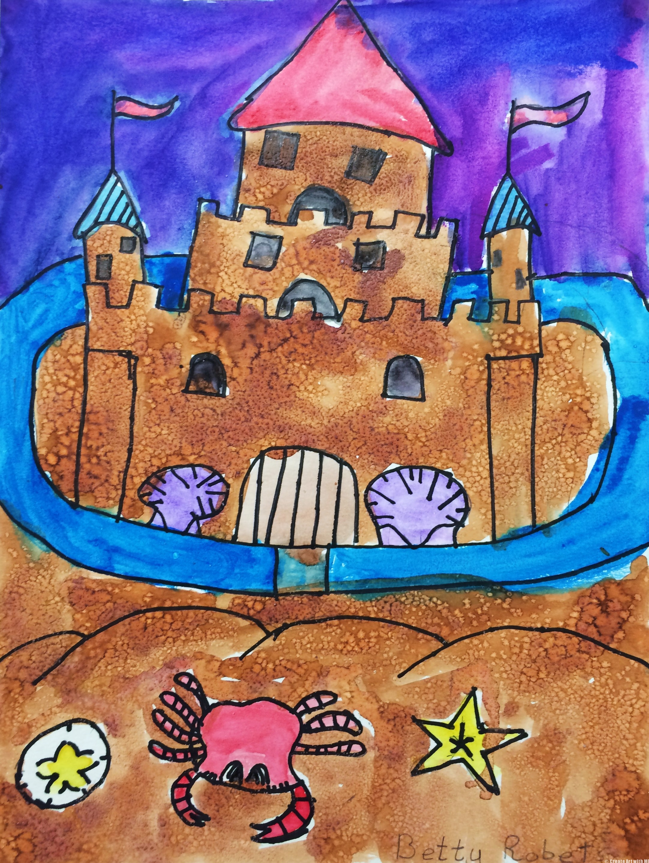 Sand castle salt and watercolor painting art lesson for Watercolor painting and projects