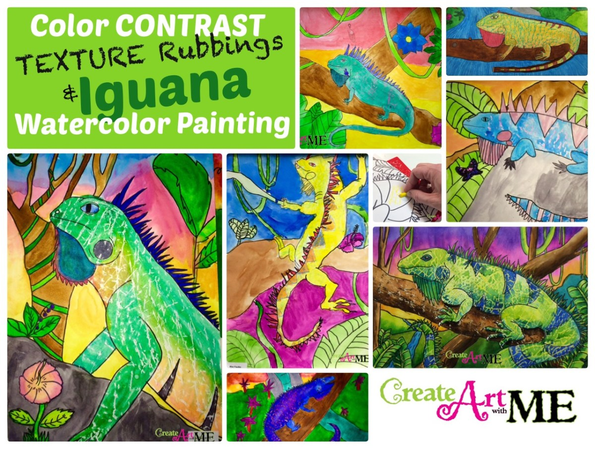 Color Contrast and Texture Rubbings Iguana Watercolor Resist Painting
