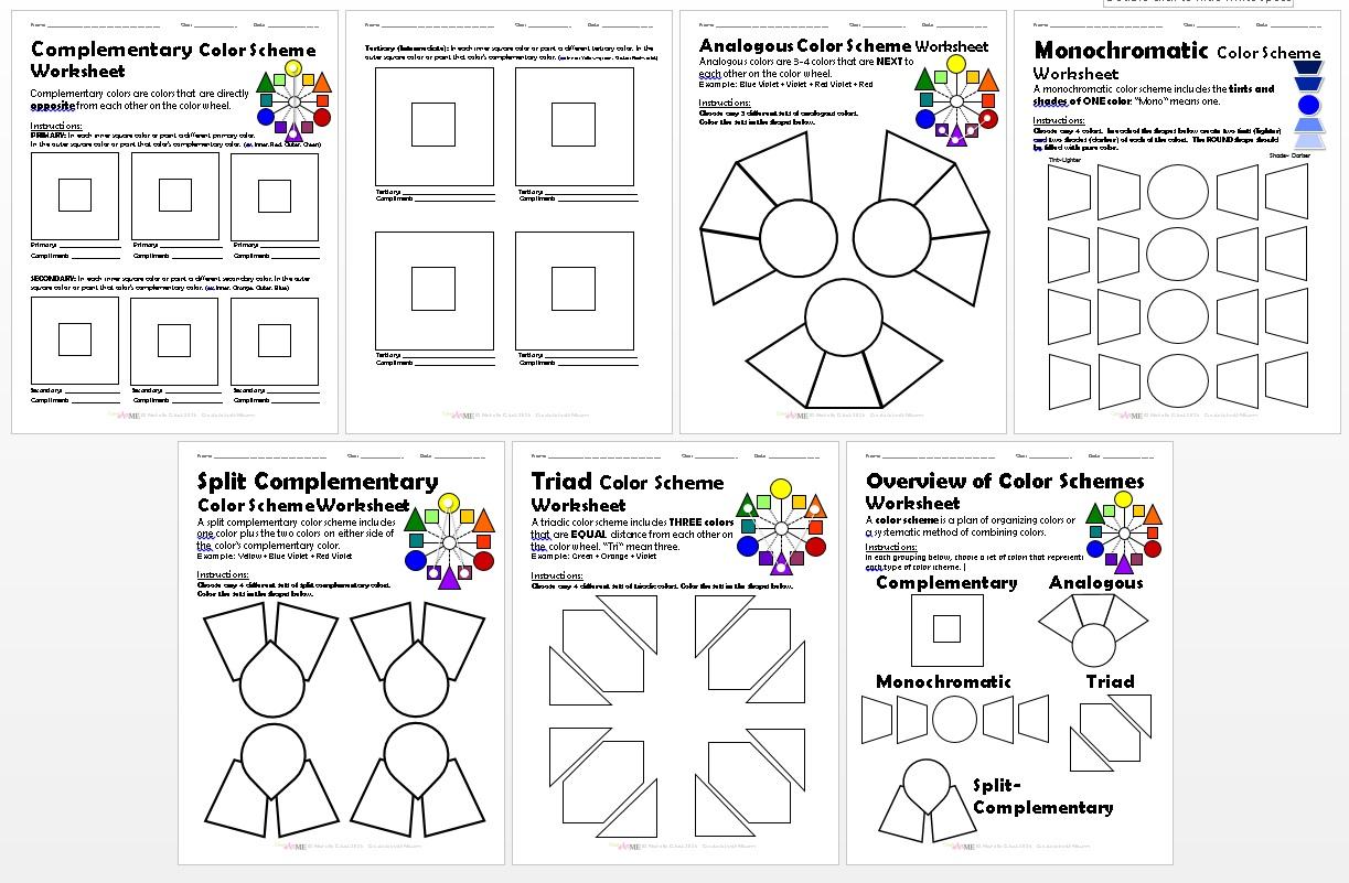 bundled color schemes worksheets packet. Black Bedroom Furniture Sets. Home Design Ideas