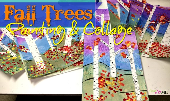 fall trees painting and collage