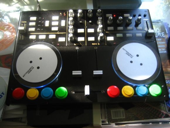 Vestax VCI 100 DJ controller modded with arcade buttons