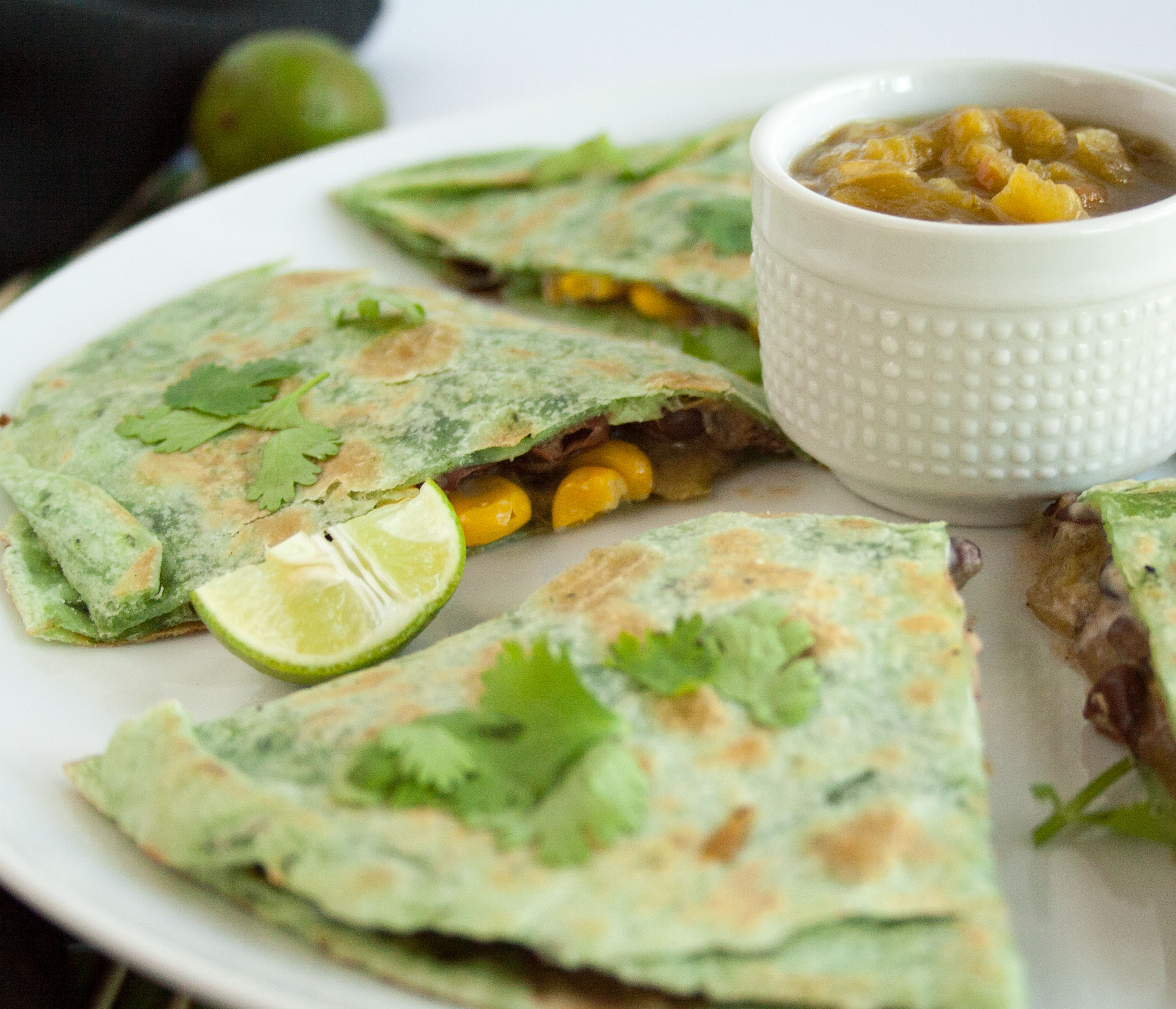 Quesadilla With Beans, Corn, and Green Chiles